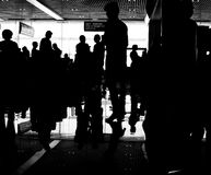 People waiting in the airport. For the registration and check-in, terminal F in Boryspil, Kiev, Ukraine royalty free stock photos