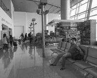 People waiting at airport in Jogja, Indonesia.  Stock Images