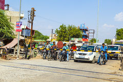 People Waiting At A Railway Crossing Near Jaipur, India Royalty Free Stock Images