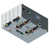 People Waiting Baggage Isometric Illustration Royalty Free Stock Images