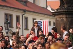 People waiting for Barack Obama. PRAGUE, CZECH REPUBLIC - APRIL 5: Crowds of people wait for Barack Obama speech April 5, 2009 in Prague. Obama delivered his Royalty Free Stock Image