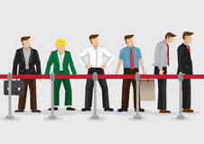 People Waiting Behind Stanchions Cartoon Vector Illustration Stock Photo