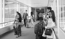 People waiting for boarding at the NAIA airport in Manila, Philippines Royalty Free Stock Photography