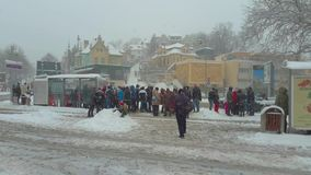 People waiting for the bus stock video