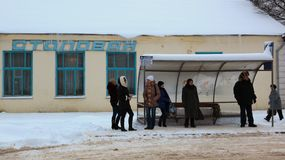 People waiting for a bus. Gagarin. Russia. Stock Image