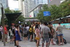 The people Waiting for bus in NANSHANG SHENZHEN Royalty Free Stock Images