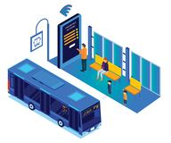 People Waiting for Bus While the Person books the Bus tickets online Isometric Artwork royalty free illustration