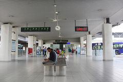 People waiting at the bus station in Kuala Lumpur Royalty Free Stock Photography