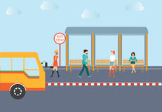 People waiting for a bus. Stock Image
