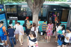 People waiting for the bus. Royalty Free Stock Photography