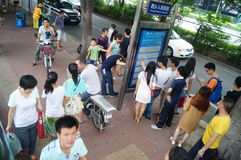 People waiting for the bus. Royalty Free Stock Photos