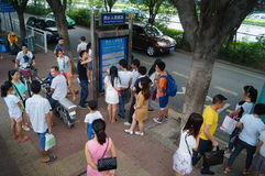 People waiting for the bus. Royalty Free Stock Photo