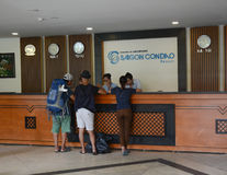 People waiting for check-in at the Con Dao resort in Vung Tau, Vietnam Royalty Free Stock Image