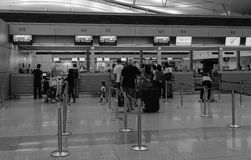 People waiting at check-in counters in Can Tho airport, Vietnam Royalty Free Stock Photography