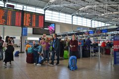 People waiting for check-in in Vaclav Havel Prague Airport royalty free stock photos