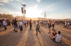 People waiting for concert at sunset on the 21th Woodstock Festival Poland. Stock Image