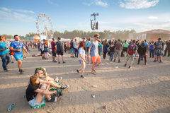 People waiting for concerts on the 21th Woodstock Festival Poland. Royalty Free Stock Photography