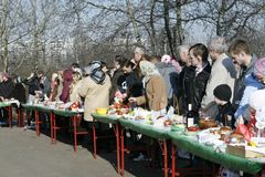 People are waiting for the consecration of cakes Stock Image