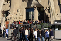 People waiting in front of Sagrada Familia Stock Images