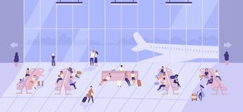 People waiting inside airport building with large panoramic windows and airplanes outside. Passengers sitting on benches. And walking with baggage at terminal stock illustration