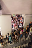 People waiting inside State Library of Victoria during White Night Royalty Free Stock Photography