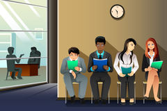 People waiting for job interview. A vector illustration of business people waiting for their turn to be interviewed Royalty Free Stock Image