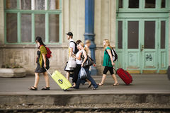 People waiting at Keleti west train station Royalty Free Stock Image