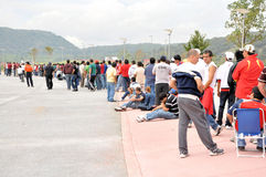 People waiting in line. People in line to buy tickets for a soccer game at Guadalajara Mexico, new soccer Stadium royalty free stock photos