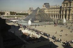 People waiting in line for entrance Louvre, Paris Stock Image