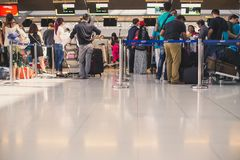 People waiting in line to check in at the Suvarnabhumi airport Royalty Free Stock Images
