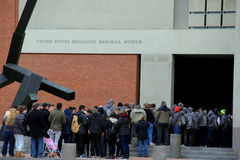 People waiting in line to enter The United States Holocaust Memorial Museum, Washington,DC,2015 Royalty Free Stock Images