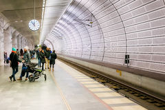 People waiting at the metro station in Malmo, Sweden Royalty Free Stock Images
