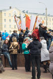 People are waiting for the Olympic flame Stock Photo