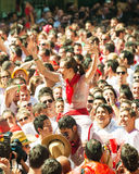 People in waiting for the opening of  San Fermin festival Royalty Free Stock Photography
