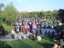 People waiting for outdoor free concert in Titan park in Bucharest, Romania on First of May 2015 Royalty Free Stock Photography