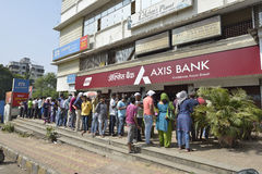People Waiting Outside Axis Bank To Withdraw And Deposit Old Demonetizes Indian Currency In Bombay, Maharashtra ,India stock photos