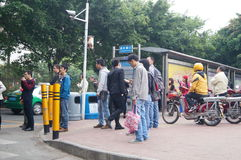 People waiting for public bus Stock Photo