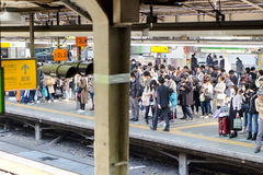 People waiting for rail train at Tokyo stock image