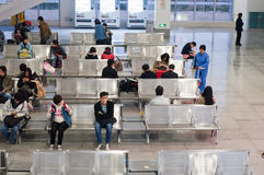 People in waiting room at the station royalty free stock photos