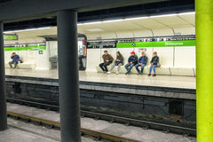 People waiting on subway in Barcelona, Spain Royalty Free Stock Photography