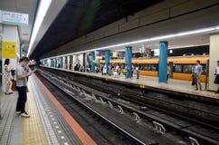 People waiting subway train Kintetsu Nara station Stock Photography