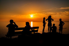 People waiting for a sunset Stock Image