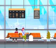 People Waiting For Takeoff In Airport Hall Or Departure Lounge Passangers Terminal Check In Interior. Flat Vector Illustration Royalty Free Stock Photos