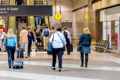 People waiting for the terminal tram at DIA Royalty Free Stock Photos