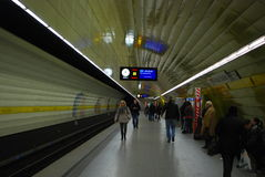 People waiting for their subway train in Munich. Passengers waiting for their subway trains at a subwaystation  in downtown munich on Holy thursday Royalty Free Stock Photography