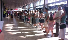 People waiting for their travelers friends Stock Photography