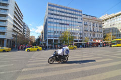 People waiting to cross the road at Syntagma Athens Greece Stock Images
