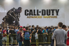 People waiting to enter Call of Duty stand at Games Week 2014 in Milan, Italy Stock Photo