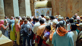 People are waiting to enter into Jesus Empty tomb stock photos