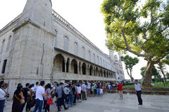 People waiting to enter the Sultan Ahmed Mosque Royalty Free Stock Image